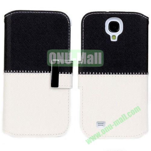 Mixed Color Leather Case with Card Slots and Holder for Samsung Galaxy S4i9500 (Black+White)