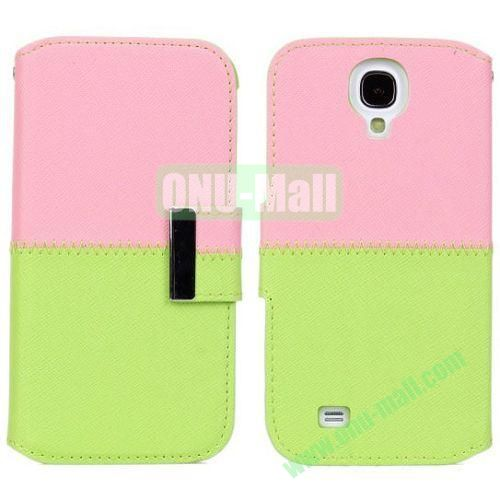 Mixed Color Leather Case with Card Slots and Holder for Samsung Galaxy S4i9500 (Pink+Green)