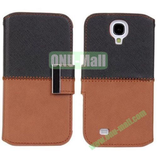 Mixed Color Leather Case with Card Slots and Holder for Samsung Galaxy S4i9500 (Black+Brown)