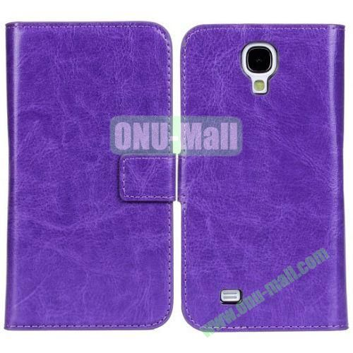 Crazy Horse Texture Leather Case with Card Slots and Holder for Samsung Galaxy S4I9500 (Purple)