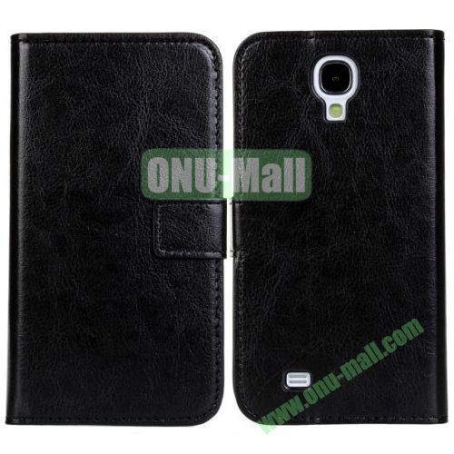 Crazy Horse Texture Leather Case with Card Slots and Holder for Samsung Galaxy S4I9500 (Black)