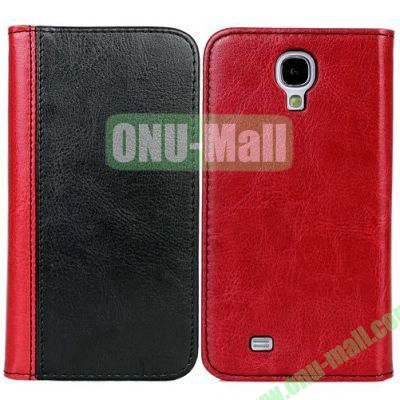 Double Color Crazy Horse Texture Leather Case with Card Slot and Stand for Samsung Galaxy S4I9500 (Black+Red)
