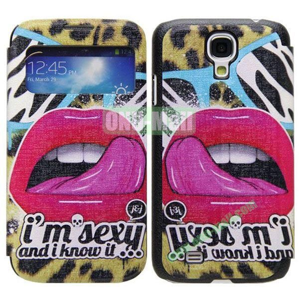 Lips Pattern Call Display Window Kickstand Flip Leather Case for Samsung Galaxy S4I9500