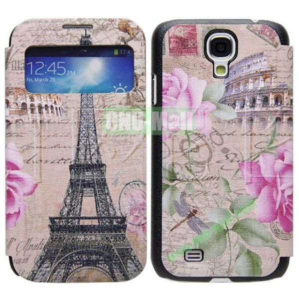 Eiffel Tower Pattern Call Display Window Kickstand Flip Leather Case for Samsung Galaxy S4I9500