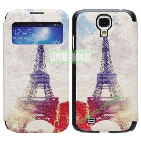 Eiffel Tower Pattern Call Display Window Kickstand Flip Leather Case for Samsung Galaxy S4I9500