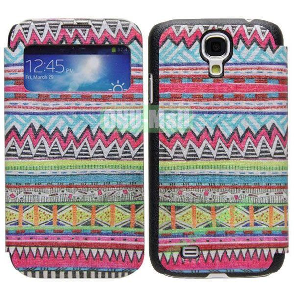 Tribal Pattern Call Display Window Kickstand Flip Leather Case for Samsung Galaxy S4I9500
