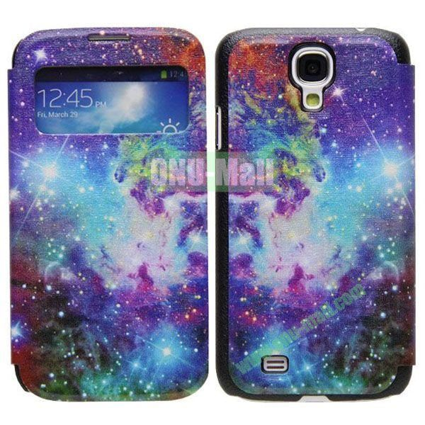 Colorful Flowers Pattern Call Display Window Kickstand Flip Leather Case for Samsung Galaxy S4I9500