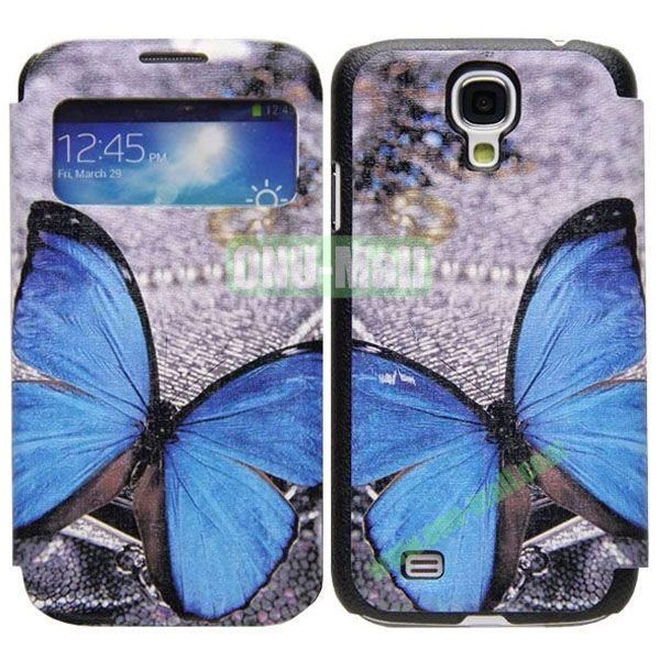 Butterfly Pattern Call Display Window Kickstand Flip Leather Case for Samsung Galaxy S4I9500