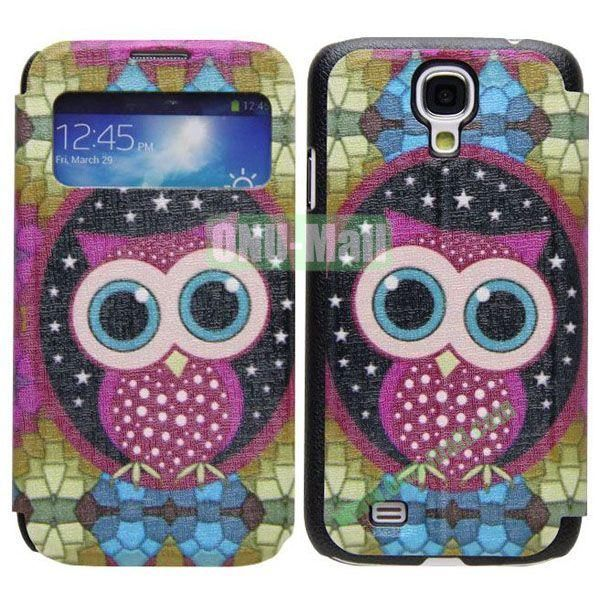 Owl Pattern Call Display Window Kickstand Flip Leather Case for Samsung Galaxy S4I9500
