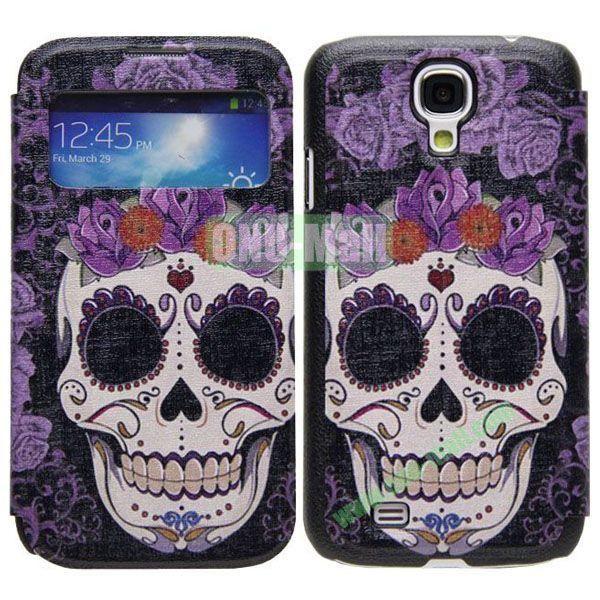 Skullcandy Pattern Call Display Window Kickstand Flip Leather Case for Samsung Galaxy S4I9500