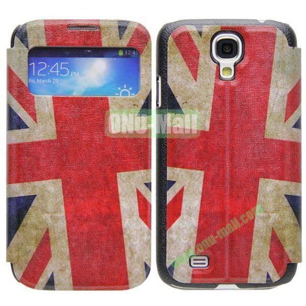 UK Flag Pattern Call Display Window Kickstand Flip Leather Case for Samsung Galaxy S4I9500