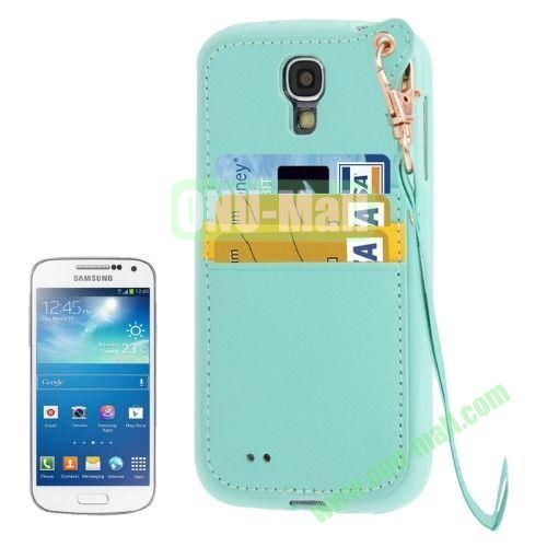 Cross Texture Leather + TPU Case for Samsung Galaxy S IVI9500 with Card Slots & Lanyard (Blue)