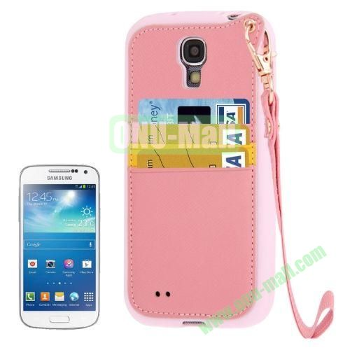 Cross Texture Leather + TPU Case for Samsung Galaxy S IVI9500 with Card Slots & Lanyard (Pink)