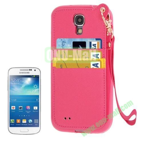 Cross Texture Leather + TPU Case for Samsung Galaxy S IVI9500 with Card Slots & Lanyard (Rose)