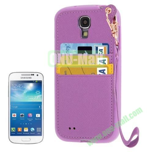 Cross Texture Leather + TPU Case for Samsung Galaxy S IVI9500 with Card Slots & Lanyard (Purple)