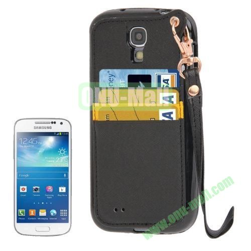 Cross Texture Leather + TPU Case for Samsung Galaxy S IVI9500 with Card Slots & Lanyard (Black)