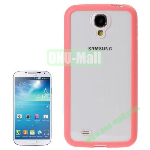 Transparent Plastic + TPU Frame Case for Samsung Galaxy S4  i9500 (Pink)