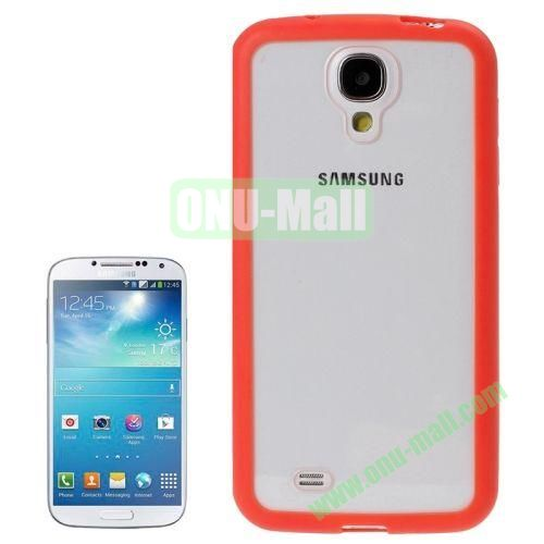Transparent Plastic + TPU Frame Case for Samsung Galaxy S4  i9500 (Red)