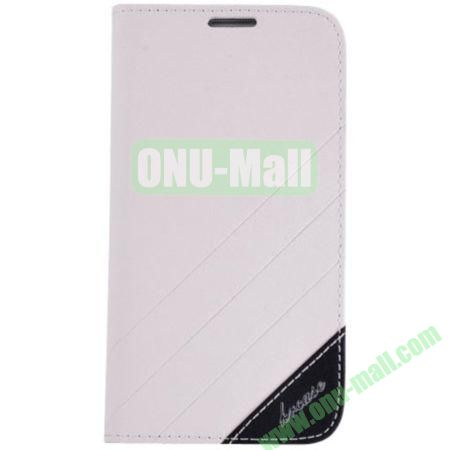 Frosted PU Wallet Pattern Leather Case for Samsung Galaxy S4 with Holder and Card Slots (White)