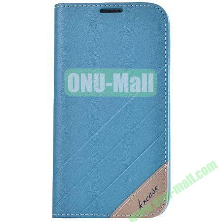 Frosted PU Wallet Pattern Leather Case for Samsung Galaxy S4 with Holder and Card Slots (Blue)