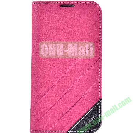 Frosted PU Wallet Pattern Leather Case for Samsung Galaxy S4 with Holder and Card Slots (Pink)