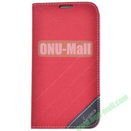 Frosted PU Wallet Pattern Leather Case for Samsung Galaxy S4 with Holder and Card Slots (Red)