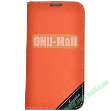 Frosted PU Wallet Pattern Leather Case for Samsung Galaxy S4 with Holder and Card Slots (Orange)
