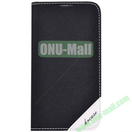 Frosted PU Wallet Pattern Leather Case for Samsung Galaxy S4 with Holder and Card Slots (Black)