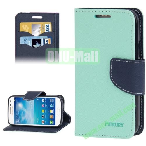Cross Texture Leather Case for Samsung Galaxy S IV  i9500 with Credit Card Slots & Holder (Blue)