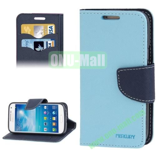 Cross Texture Leather Case for Samsung Galaxy S IV  i9500 with Credit Card Slots & Holder (Light Blue)