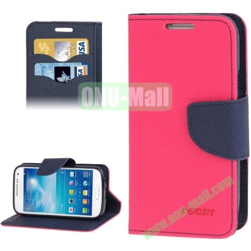 Cross Texture Leather Case for Samsung Galaxy S IV  i9500 with Credit Card Slots & Holder (Rose)