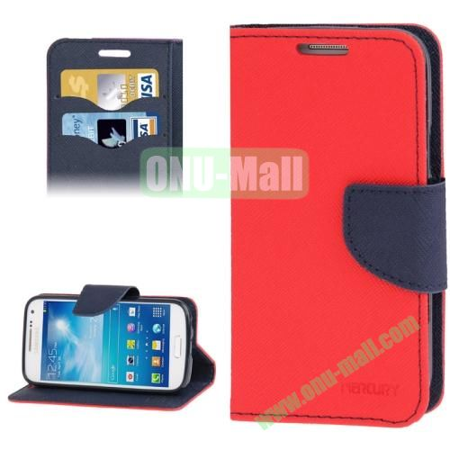 Cross Texture Leather Case for Samsung Galaxy S IV  i9500 with Credit Card Slots & Holder (Red)