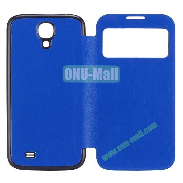 Crazy Horse Texture PC Housing Leather Flip Cover for Samsung Galaxy S4 I9500 (Dark Blue)