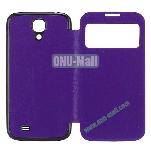 Crazy Horse Texture PC Housing Leather Flip Cover for Samsung Galaxy S4 I9500 (Purple)