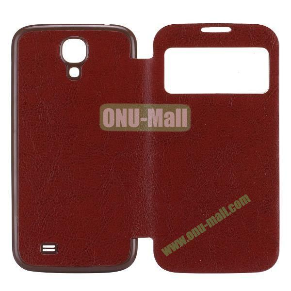 Crazy Horse Texture PC Housing Leather Flip Cover for Samsung Galaxy S4 I9500 (Brown)