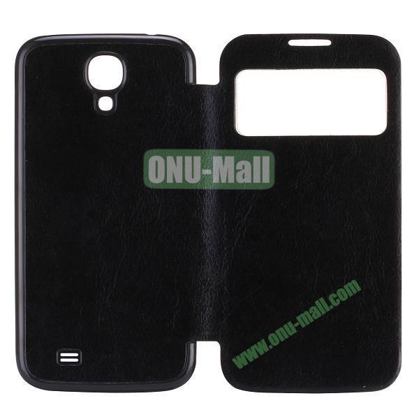 Crazy Horse Texture PC Housing Leather Flip Cover for Samsung Galaxy S4 I9500 (Black)