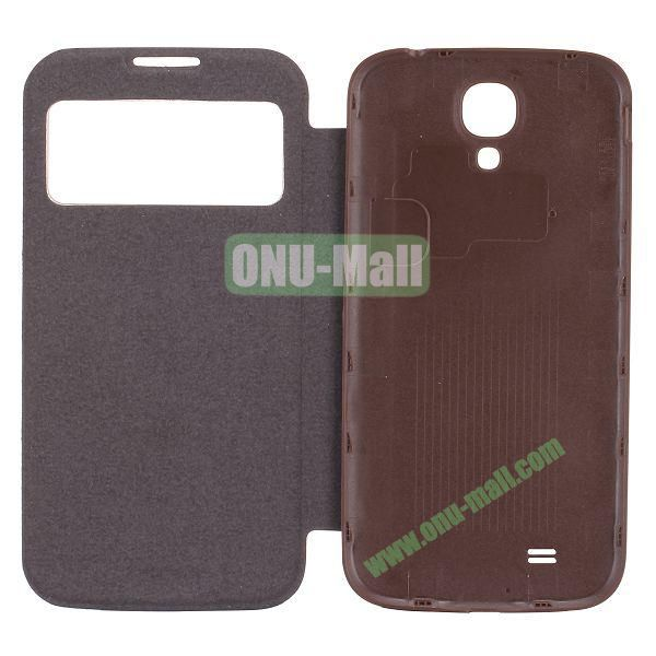 Crocodile Texture Display PC Back Housing Flip Leather Case for Samsung Galaxy S4 I9500 with Sleep Function (Coffee)