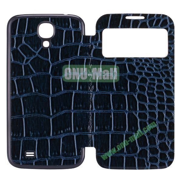 Crocodile Texture Display PC Back Housing Flip Leather Case for Samsung Galaxy S4 I9500 with Sleep Function (Dark Blue)