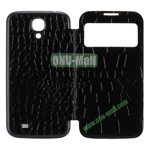 Crocodile Texture Display PC Back Housing Flip Leather Case for Samsung Galaxy S4 I9500 with Sleep Function (Black)