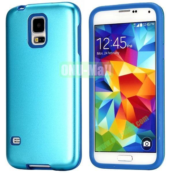 Fashion 2 in 1 Aluminium + Silione Hybrid Case for Samsung Galaxy S5 I9600 (Light Blue)