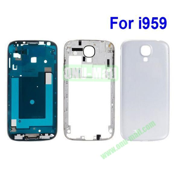 Replacement Frame Bezel Spare Parts for Samsung Galaxy S4 i9500 Back Cover Housing (White)