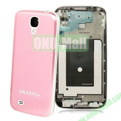 Chassis Full Housing + Metallic Brushed Plastic Material Battery Cover Replacement for Samsung Galaxy S4 I9500 (Pink)