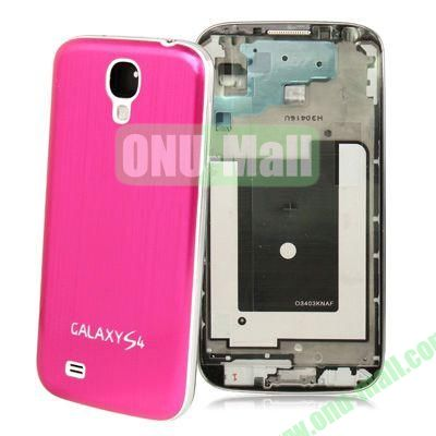 Chassis Full Housing + Metallic Brushed Plastic Material Battery Cover Replacement for Samsung Galaxy S4 I9500 (Rose)