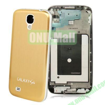 Chassis Full Housing + Metallic Brushed Plastic Material Battery Cover Replacement for Samsung Galaxy S4 I9500 (Gold)
