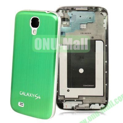 Chassis Full Housing + Metallic Brushed Plastic Material Battery Cover Replacement for Samsung Galaxy S4 I9500 (Green)