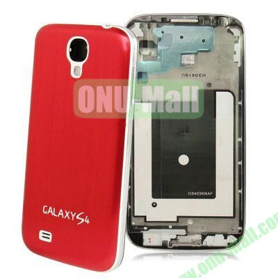 Chassis Full Housing + Metallic Brushed Plastic Material Battery Cover Replacement for Samsung Galaxy S4 I9500 (Red)