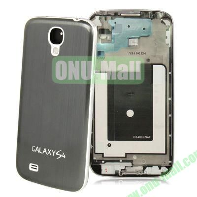 Chassis Full Housing + Metallic Brushed Plastic Material Battery Cover Replacement for Samsung Galaxy S4 I9500 (Grey)