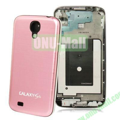 Replacement Spare Parts Full Housing+Metal Brushed Plastic Material Battery Cover for Samsung Galaxy S4 I9500 (Pink)