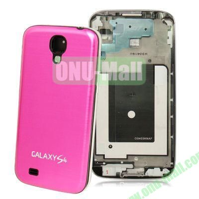 Replacement Spare Parts Full Housing+Metal Brushed Plastic Material Battery Cover for Samsung Galaxy S4 I9500 (Rose)