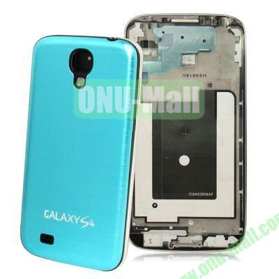 Replacement Spare Parts Full Housing+Metal Brushed Plastic Material Battery Cover for Samsung Galaxy S4 I9500 (Light Blue)
